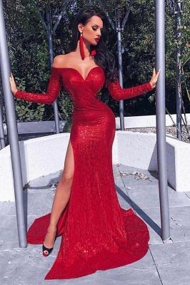 Charming Long Sleeves Sheath Front Split Prom Dress_2