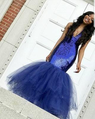 Sexy Navy Blue Mermaid Sequins Prom Dresses | Tulle Sleeveless V-Neck Evening Dresses_4