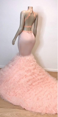 Pink Halter Sleeveless Mermaid Prom Dresses | 2021 Chic Open Back Lace Tulle Evening Gowns_3