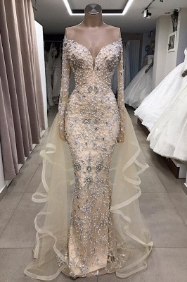 Luxury Long sleeve off-the-shoulder prom dress with fully-covered beads_2