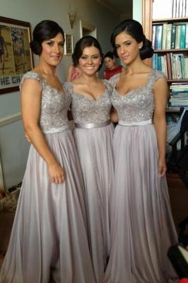 ADA   A-line V Neck Chiffon Bridesmaid Dress with Appliques_8