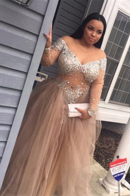 Delicate Plus-Size Stunning Long-Sleeve Tulle Split Crystal Prom Dress_1