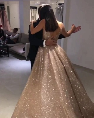 Shiny Gold Ball Gown Evening Dresses | Sexy V-Neck Sequin Prom Dresses_5