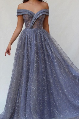 Gorgeous A-Line Off The Shoulder Tulle Beaded Prom Dresses_1
