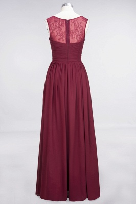 Chiffon A-Line Tulle Lace Scoop Sleeveless Long Bridesmaid Dress with Ruffle_7