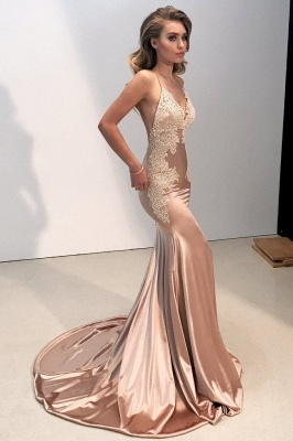 Sparkly Lace Appliques Mermaid Evening Dresses | Spaghetti Straps Sexy Long Prom Dresses_1