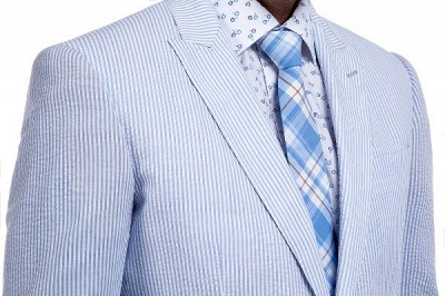 Blue Stripes Single Breasted Wedding Groom Tuxedos | Peaked Lapel Two Buttons Tailor Made Causal Suit for Men_5