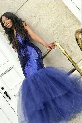 Sexy Navy Blue Mermaid Sequins Prom Dresses | Tulle Sleeveless V-Neck Evening Dresses_1