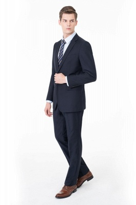 Peak Lapel Two Pieces with Pants Two Button Comfortable Casual Suits_1