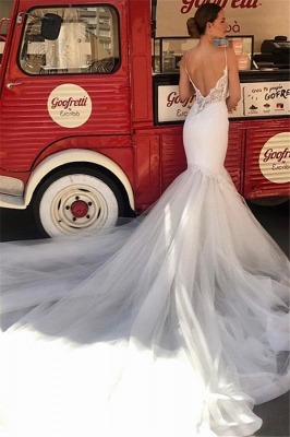 Elegant Spaghetti-Straps Mermaid Wedding Dresses | Cheap Appliques Sleeveless Lace Tulle Bridal Gowns_2