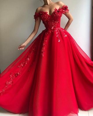 Гламурное бальное платье с открытыми плечами Аппликация Цветы Вечерние платья_2