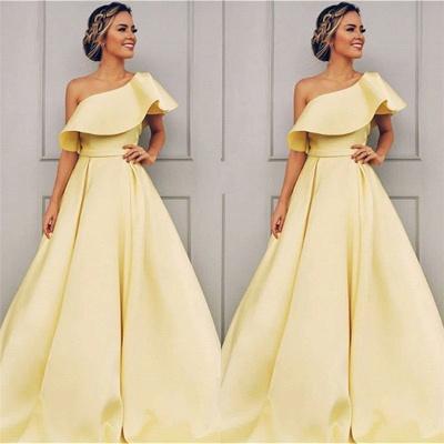 Elegant One Shoulder A-Line Sweep Train Prom Dresses BC0958_3