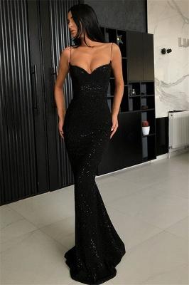 Black Sheath Spaghetti Straps Open Back Sequins Prom Dresses_1
