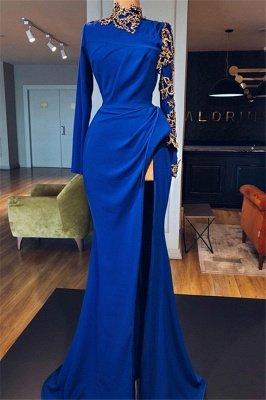 Robes de bal sirène bleu royal à col haut avec fentes latérales | Robes de soirée élégantes à manches longues_3