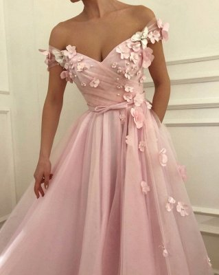 Pink Flowers A-Line Tulle Long Prom Dress | Elegant Off-the-Shoulder Evening Gowns_3
