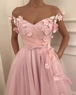 Pink Flowers A-Line Tulle Long Prom Dress | Elegant Off-the-Shoulder Evening Gowns_2