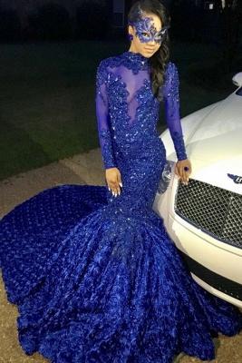 Sexy Blumen Royal Blue Abendkleid | Langes Abendkleid_1