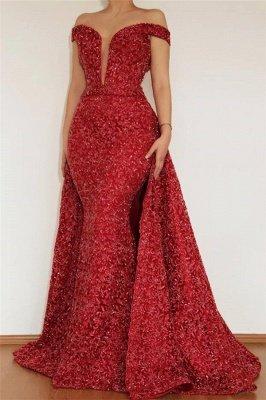 Bourgogne glamour sirène hors l'épaule appliques de dentelle robe de bal avec jupe amovible_1