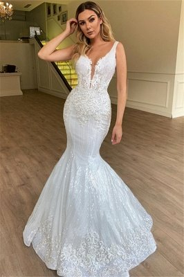Glamorous Sheer Straps Mermaid Sleeveless Appliques Tulle Wedding Dresses