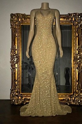 Stunning Sequined Mermaid Spaghetti-strap Long Sleeveless Prom Dress_2