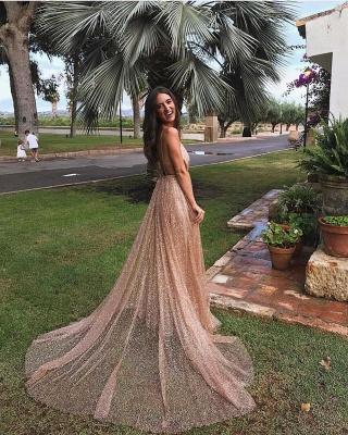 Glamorosos lentejuelas una línea de vestidos de fiesta largos | 2021 correas espaguetis vestido de noche con cuello en V_4