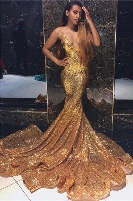 Newest Gold Mermaid Spaghetti Straps V-Neck Sleeveless Sequins Prom Dresses_1