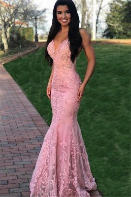 Pink Gorgeous Mermaid Sleeveless Lace Applique Prom Dresses_1