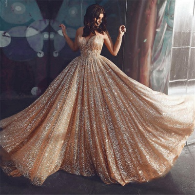 Champagne Elgant A-line Spaghetti Straps Backless Sequins Prom Dresses_3