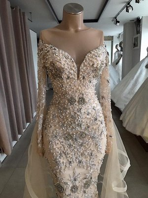 Vestido largo de fiesta de lujo con hombros descubiertos y abalorios totalmente cubiertos_3
