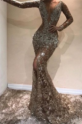 Glamorous Mermaid Long Sleeves Open Back Sequins Prom Dresses_1