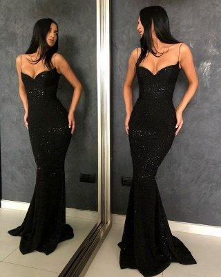 Black Sheath Spaghetti Straps Open Back Sequins Prom Dresses_2