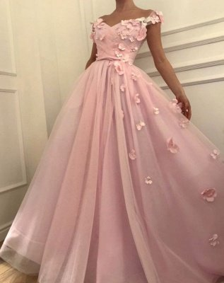 Pink Flowers A-Line Tulle Long Prom Dress | Elegant Off-the-Shoulder Evening Gowns_4