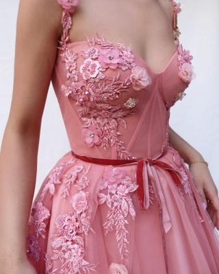 Vestidos de fiesta con aplicación de flor de tul y espagueti rosa hermosa_3