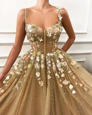 Glamorous A linha de cintas de espaguete vestidos de casamento da flor_2