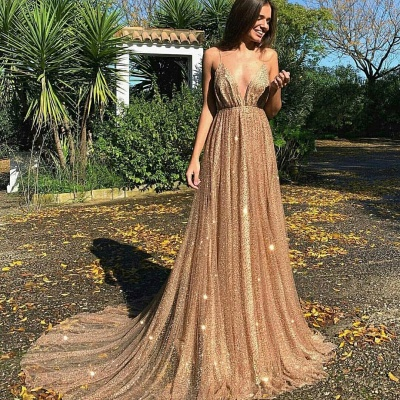 Glamorous Sequins A-Line Long Prom Gowns | 2019 Spaghetti Straps V-Neck Evening Dress_5