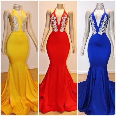 Halter V-neck Appliqued Mermaid Long Eveing Gowns_2