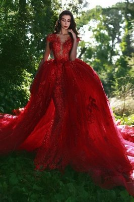 Elegant Red V-Neck OverSkirt Lace Applique Prom Dresses_1