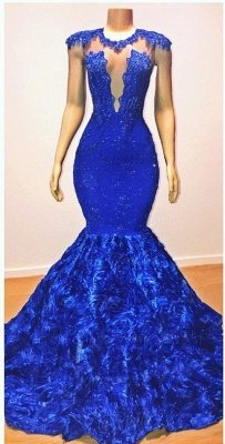 2021 Royal-Blue Flowers Mermaid Long Evening Gowns | Glamorous Sleeveless With lace Appliques Prom Dresses_2