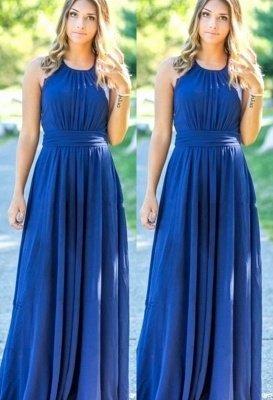 Ocean Blue Halter Chiffon Bridesmaid Dresses | A-line Open Back Floor-length Bridesmaid Dresses_1