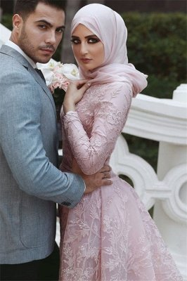 Pink Detachable Long-Sleeves Prom Dresses | Appliques Lace Mermaid Evening Gowns_2