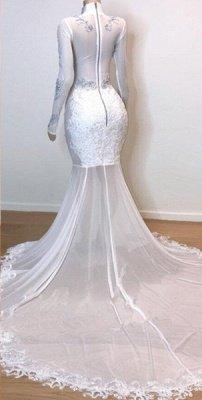 Robes de bal à manches longues en dentelle blanche superbes   Robes de soirée sirène en tulle diaphane 2021_3