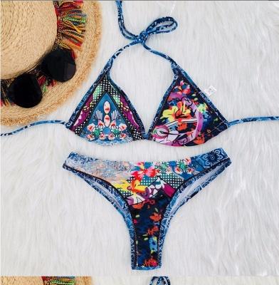 Women Strappy Swimwear Floral Print Padding Wireless Bikini Set Bathing Suit Swimsuits_2