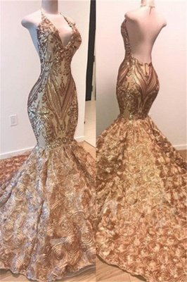 Glamorous Gold Sequins Sleeveless Prom Dress | Shiny Mermaid Evening Gowns With Flowers Bottom