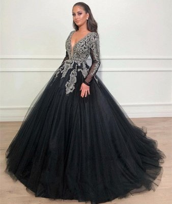 Black Ball Gown Deep V-Neck Long Sleeves Appliques Overskirt Evening Dresses_3