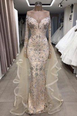 Vestido largo de fiesta de lujo con hombros descubiertos y abalorios totalmente cubiertos_2
