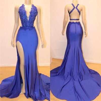 Col en v sexy sexy dos ouvert fente latérale robes de bal pas cher   Robes de soirée en dentelle bleu royal élégant de perles de sirène_2