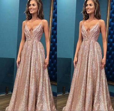 Sexy Sequins Simple Spaghetti Straps Evening Dresses | 2019 Cheap Open Back Sleeveless Prom Dress_4