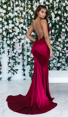 Burgundy Sleeveless Mermaid Backless Prom Dresses | Cheap Spaghetti-Straps Lace Appliques Evening Gowns_2