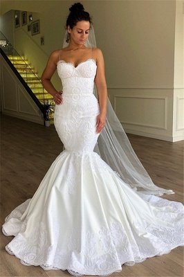 Gorgeous Mermaid Spaghetti Straps Sleeveless Lace Wedding Dresses