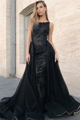 Sexy Mermaid Sleeveless Evening Gowns | Black Appliques Lace Overskirt Prom Dresses 2019